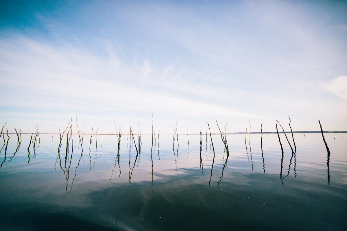 Vue sur l'eau du Bassin en hiver