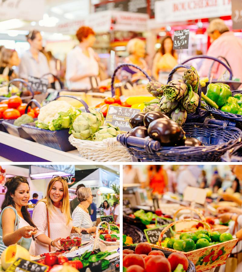 Les stands de fruits et légumes au marché couvert du Cap Ferret